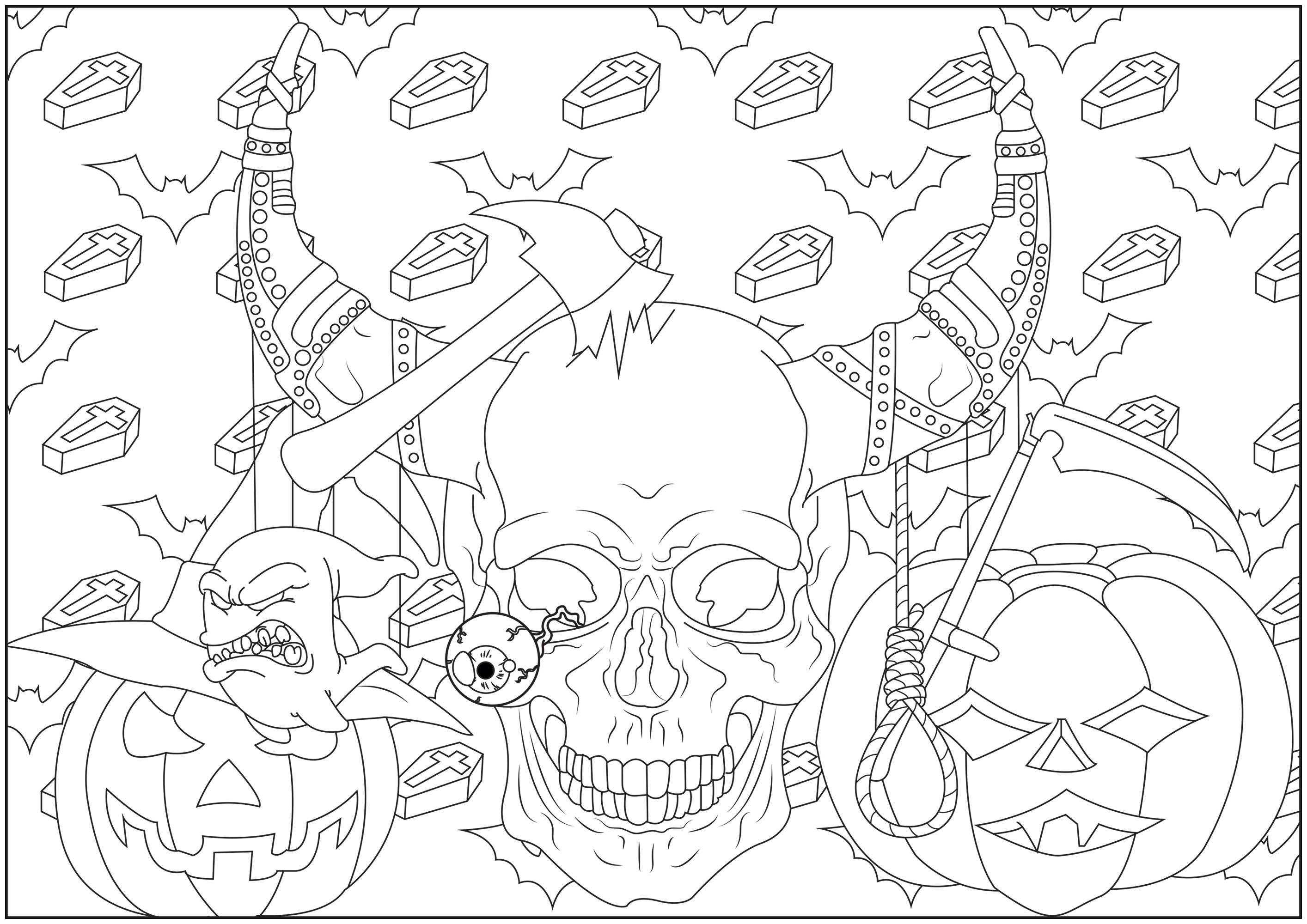 Coloriez ce crâne effrayant, entouré de citrouilles, avec en fond des cercueils et des chauves-souris