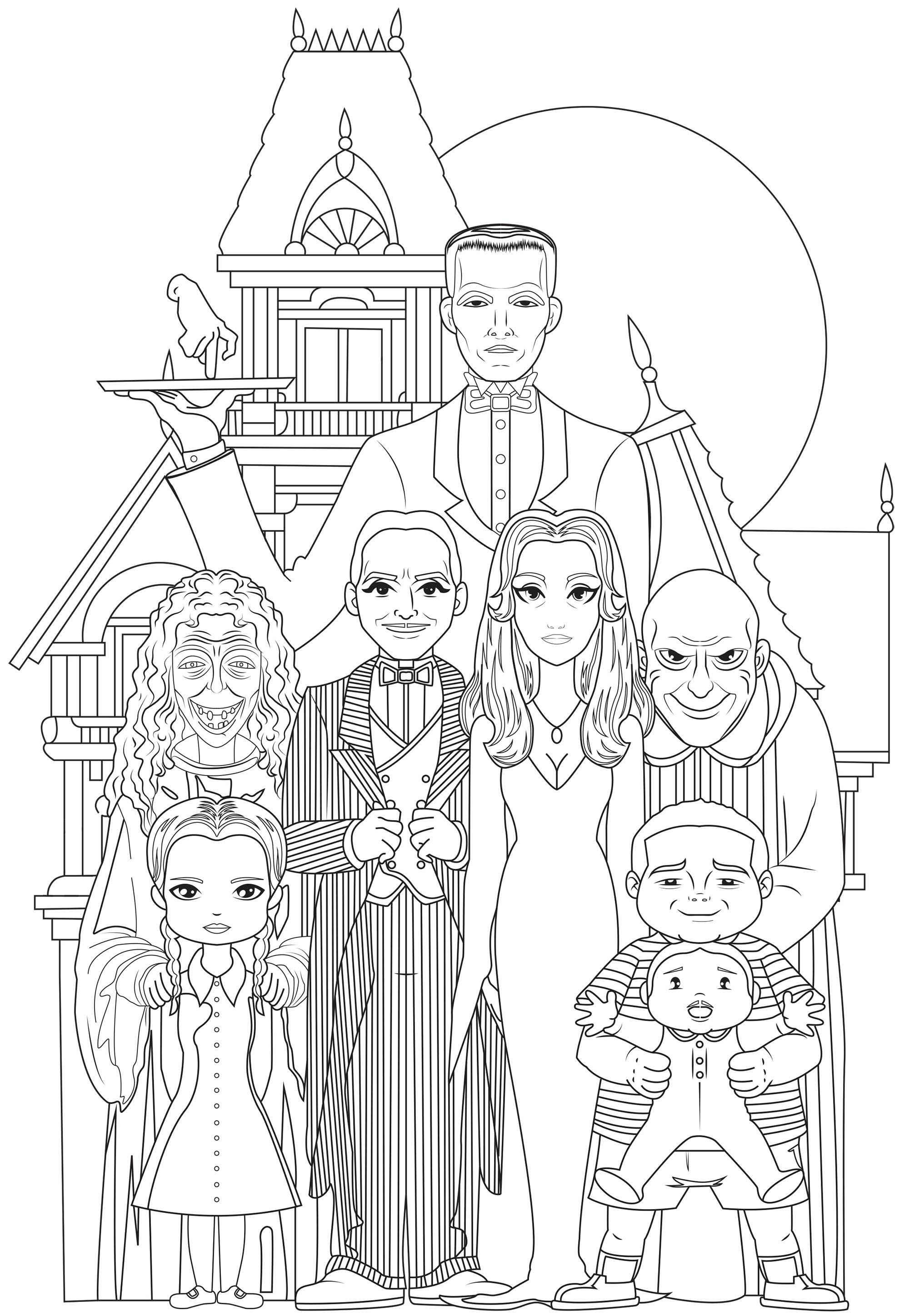 La famille Addams au grand complet : Gomez et Morticia, leurs enfants Mercredi et Pugsley, l'Oncle Fester et Grandmama, leur majordome Lurch, la main Thing et le cousin Itt