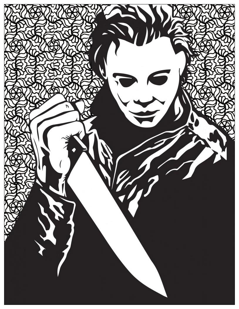 Coloriage de films d'horreur classiques : Michael Myers (la saga Halloween)