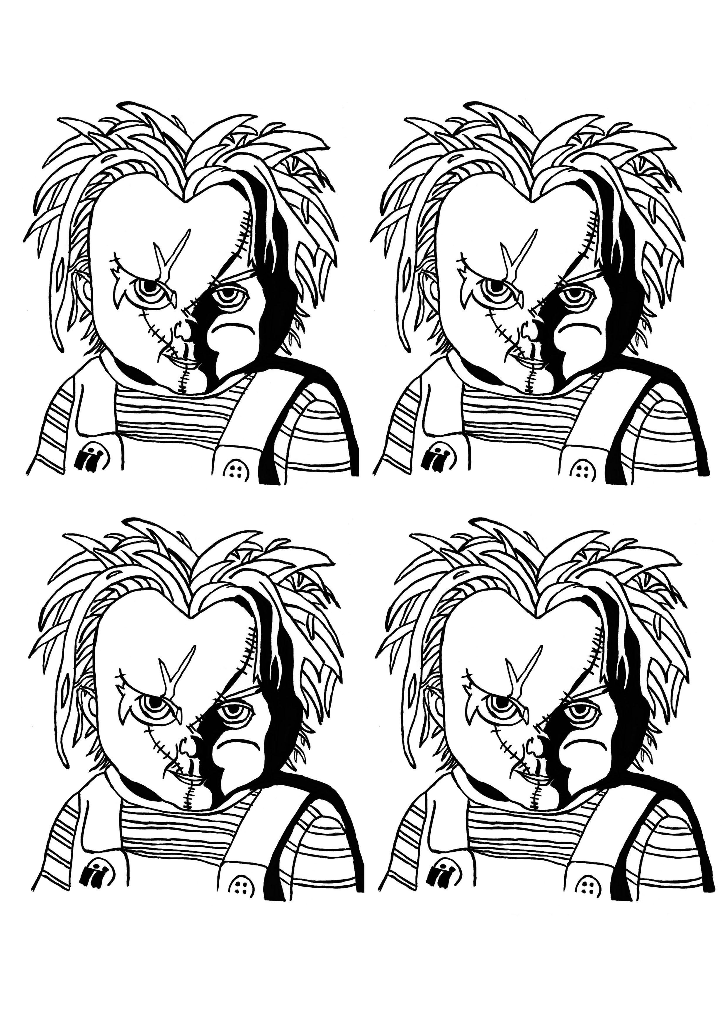 Un portrait à la Andy Warhol représentant la célèbre poupée Chucky