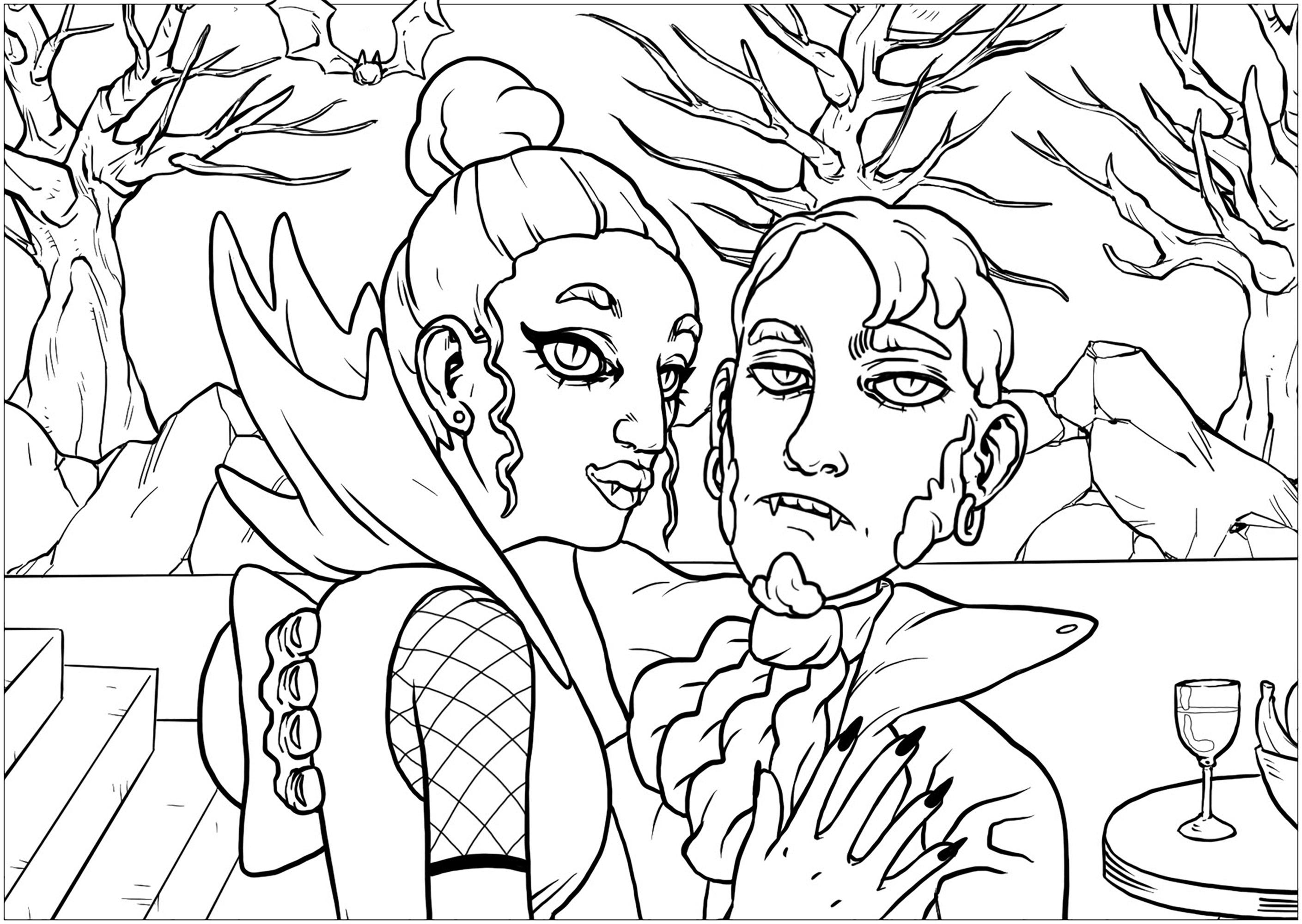 Un couple de vampires unis pour l'éternité par les liens du sang - version portrait