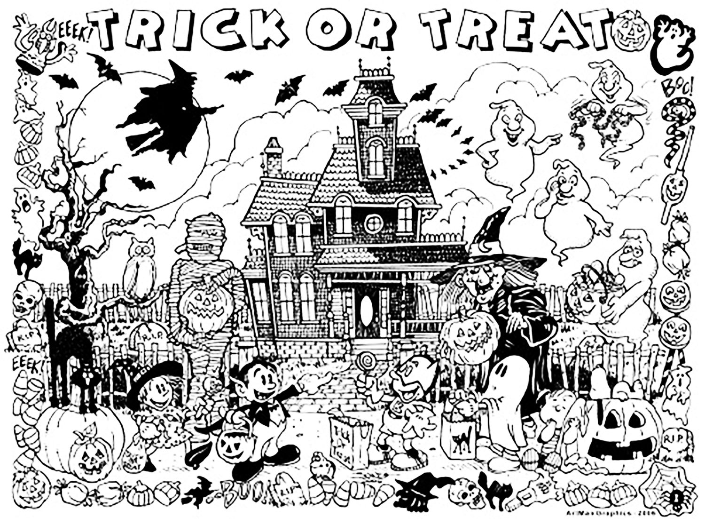 halloween haunted house coloring pages - halloween maison hante des bonbons ou un sort halloween