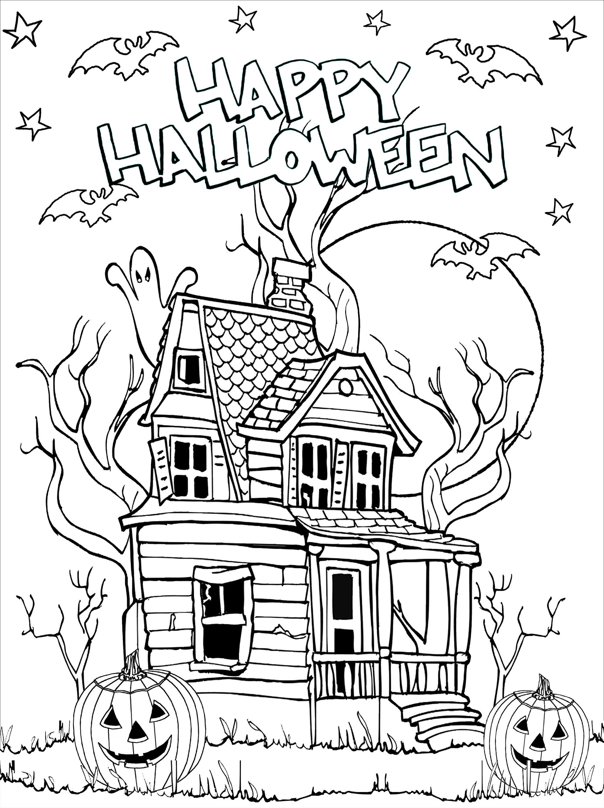 Coloriage de maison hantée avec citrouilles (Jack-o'-lantern), chauves-souris, lune et étoiles