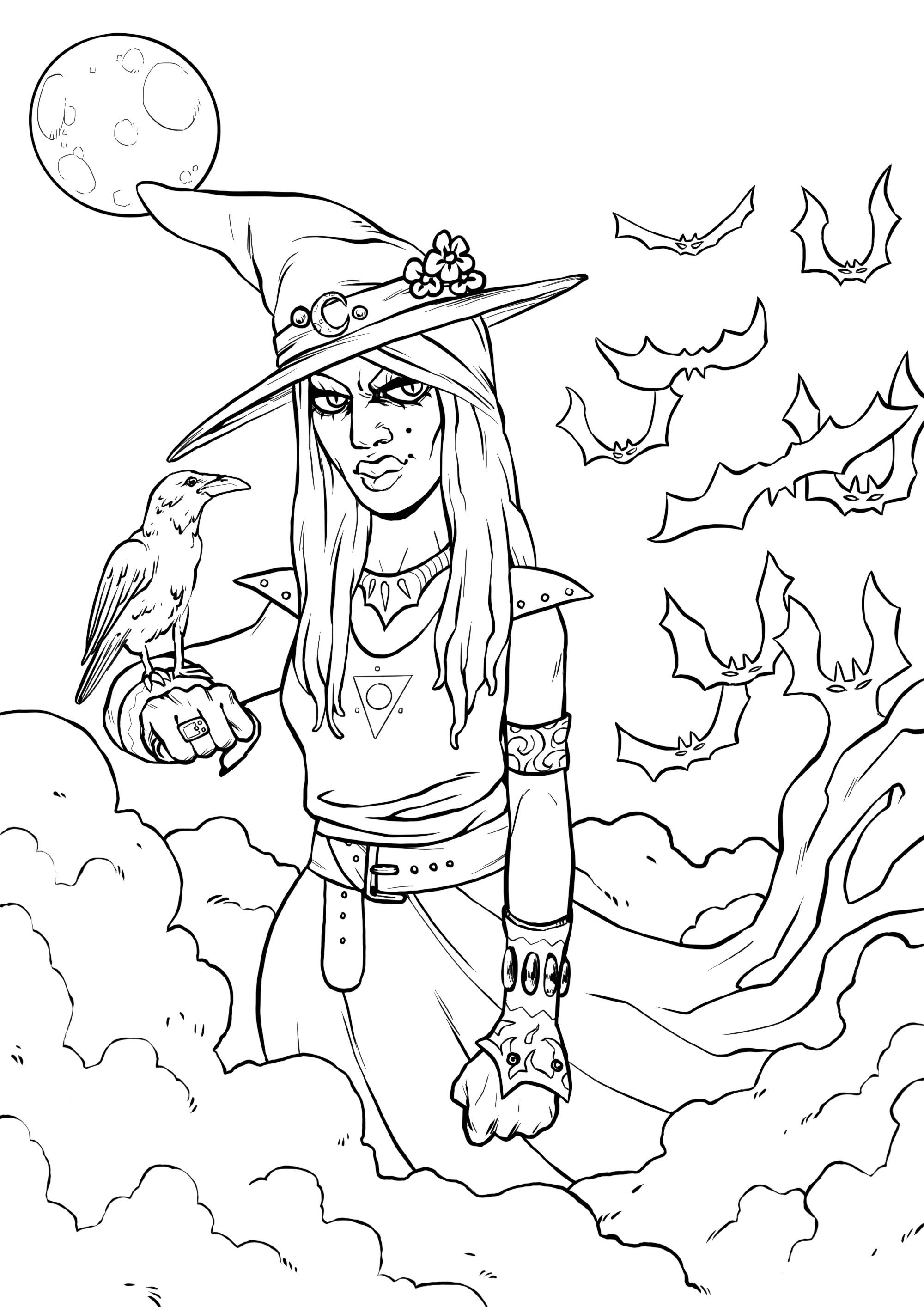 Une sorcière ensorcelante et son corbeau, dans un paysage menaçant, avec des chauves souris terrifiantes