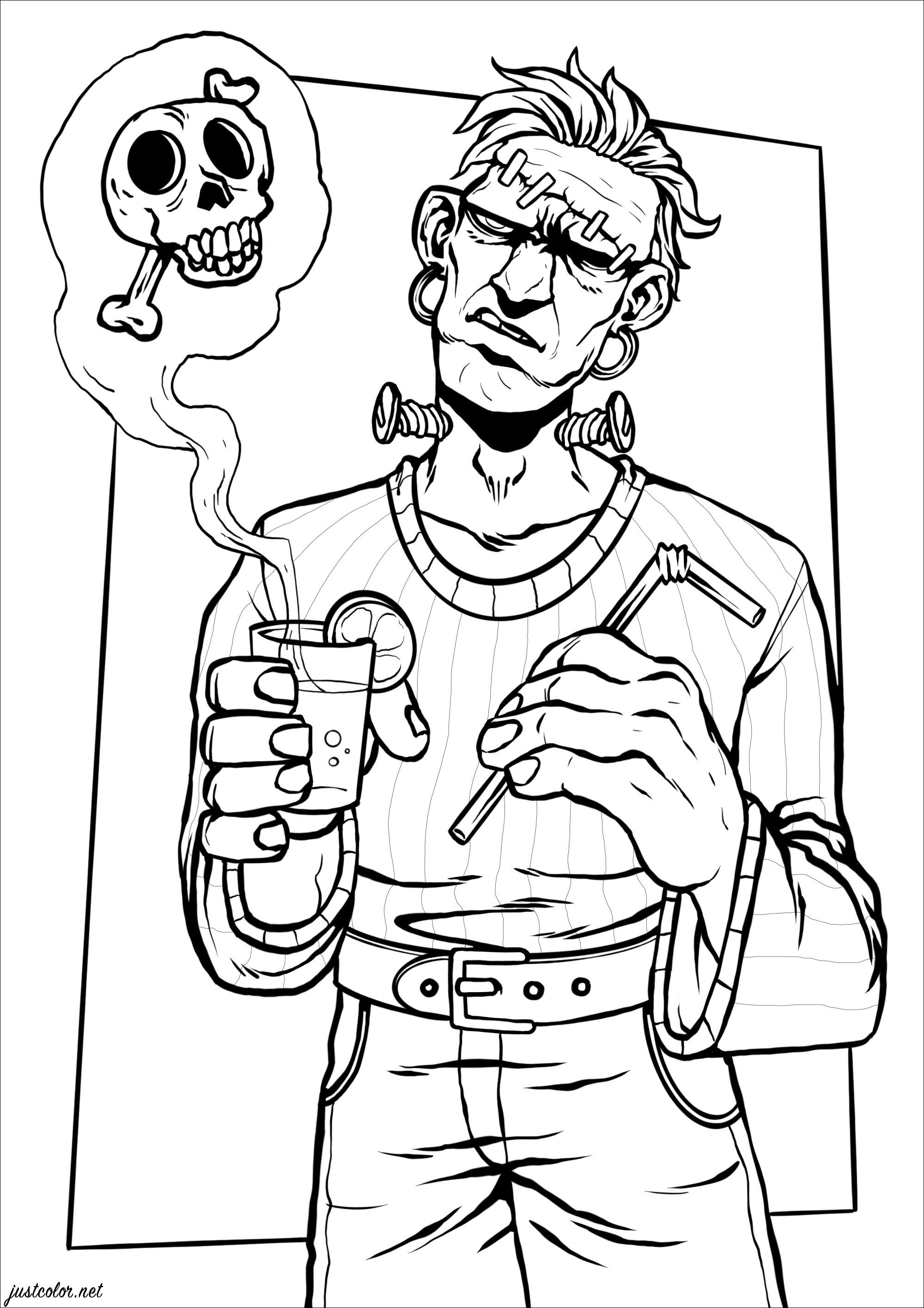 La fameuse créature de Frankenstein en train de boire une boisson 'mortelle' !