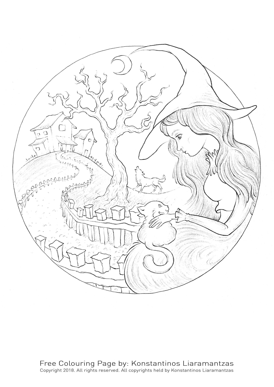 Une gentille sorcière caressant un chat mignon s'étant aventuré dans le jardin de son manoir