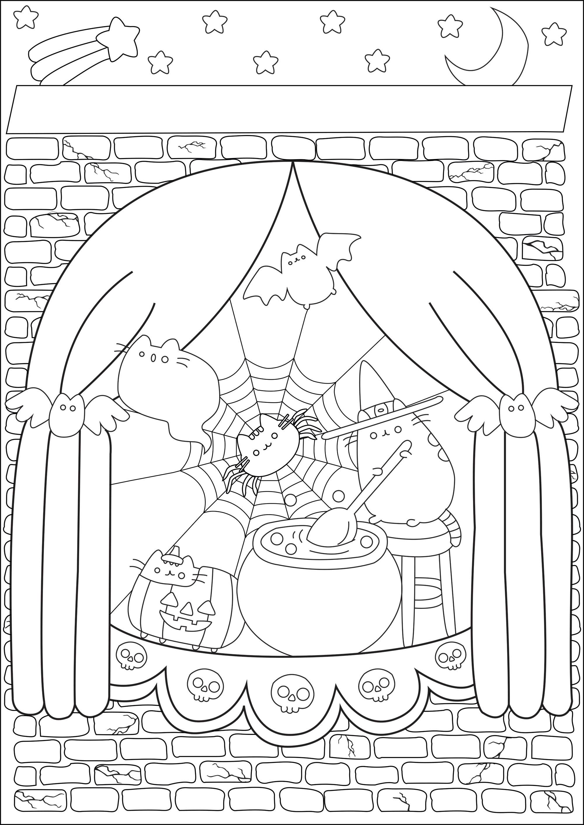 Jolie sorcière Pusheen dans son manoir préparant une potion magique pour Halloween