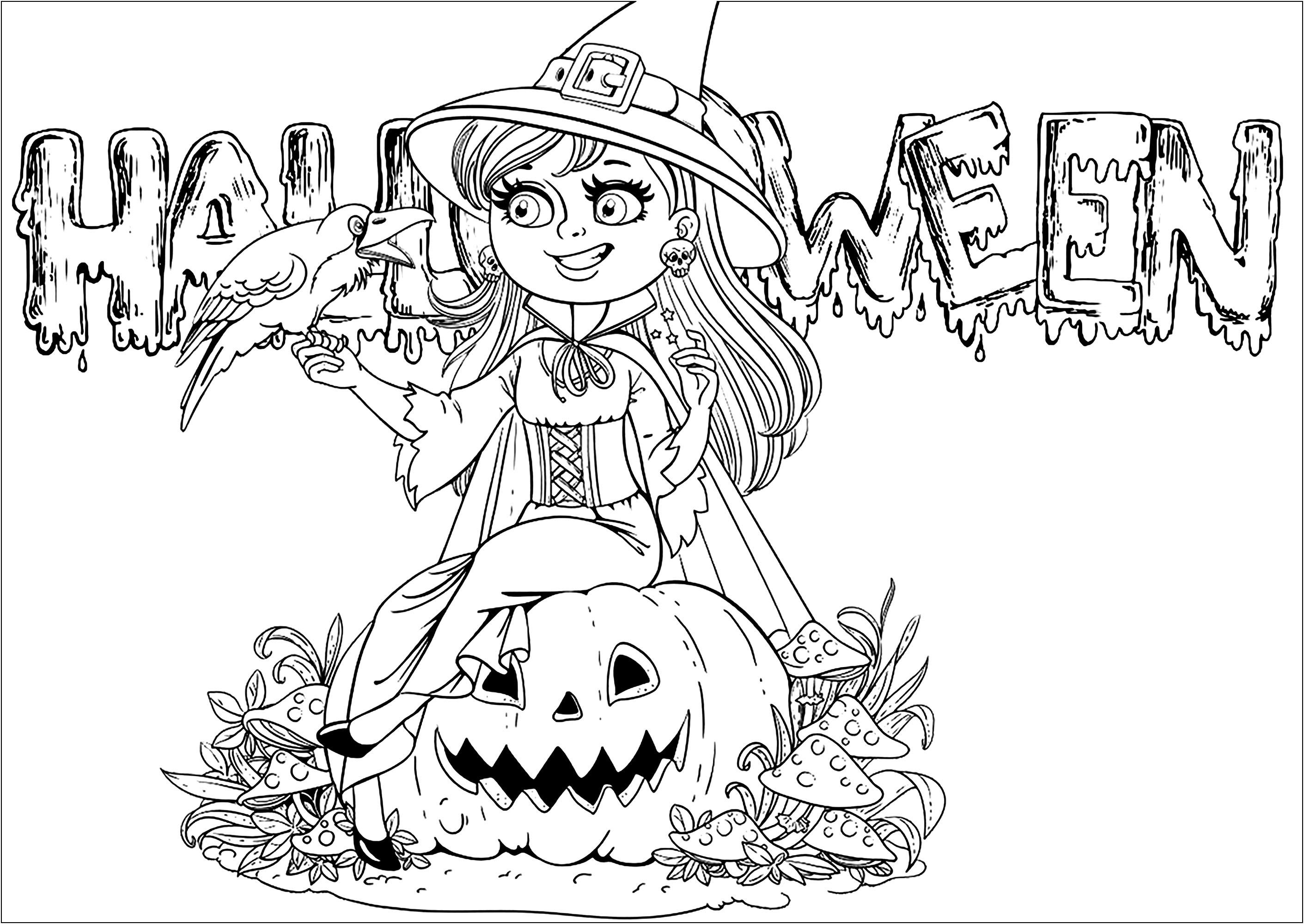 Coloriez cette jolie sorcière avec sa grosse citrouille et son ami corbeau, avec le texte 'Halloween' en fond