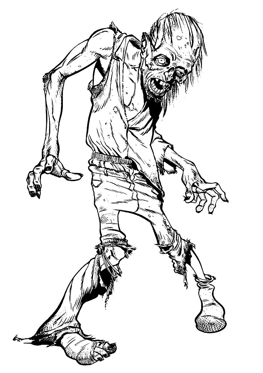 Zombie Halloween Coloriages Difficiles Pour Adultes