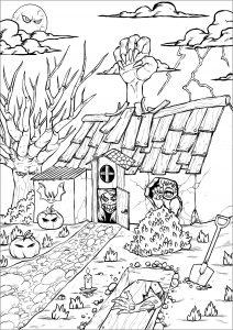 Maison hantée d'Halloween et ses créatures