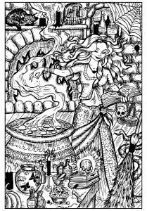 Jolie sorcière et son chaudron