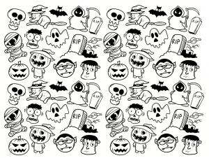 Coloriage doodle halloween