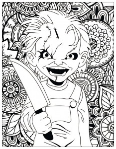 Coloriage film horreur chucky