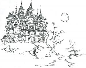 Coloriage halloween chateau et squelette