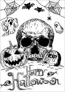 Skull, Pumpkin and Tomb