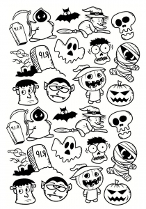 Coloriage halloween doodle personnages