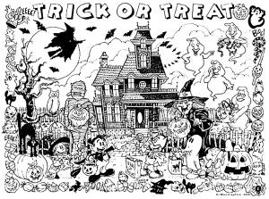 Coloriage halloween maison hante des bonbons ou un sort
