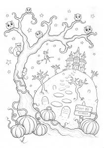 Coloriage halloween maison hantee
