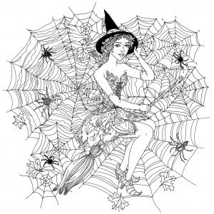 coloriage-halloween-sorciere-dans-toile-d-areignee-par-mashabr free to print
