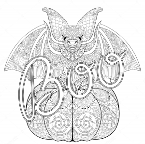 Coloriage halloween zentangle chauve souris