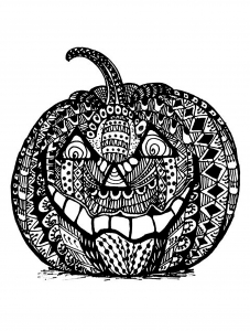 Coloriage halloween zentangle citrouille
