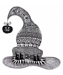 coloriage-halloween-zentangle-sorciere-au-chapeau free to print