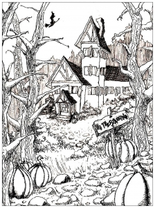 coloriage maison hantee et citrouille d halloween