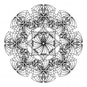 Dessin circulaire avec chauves souris