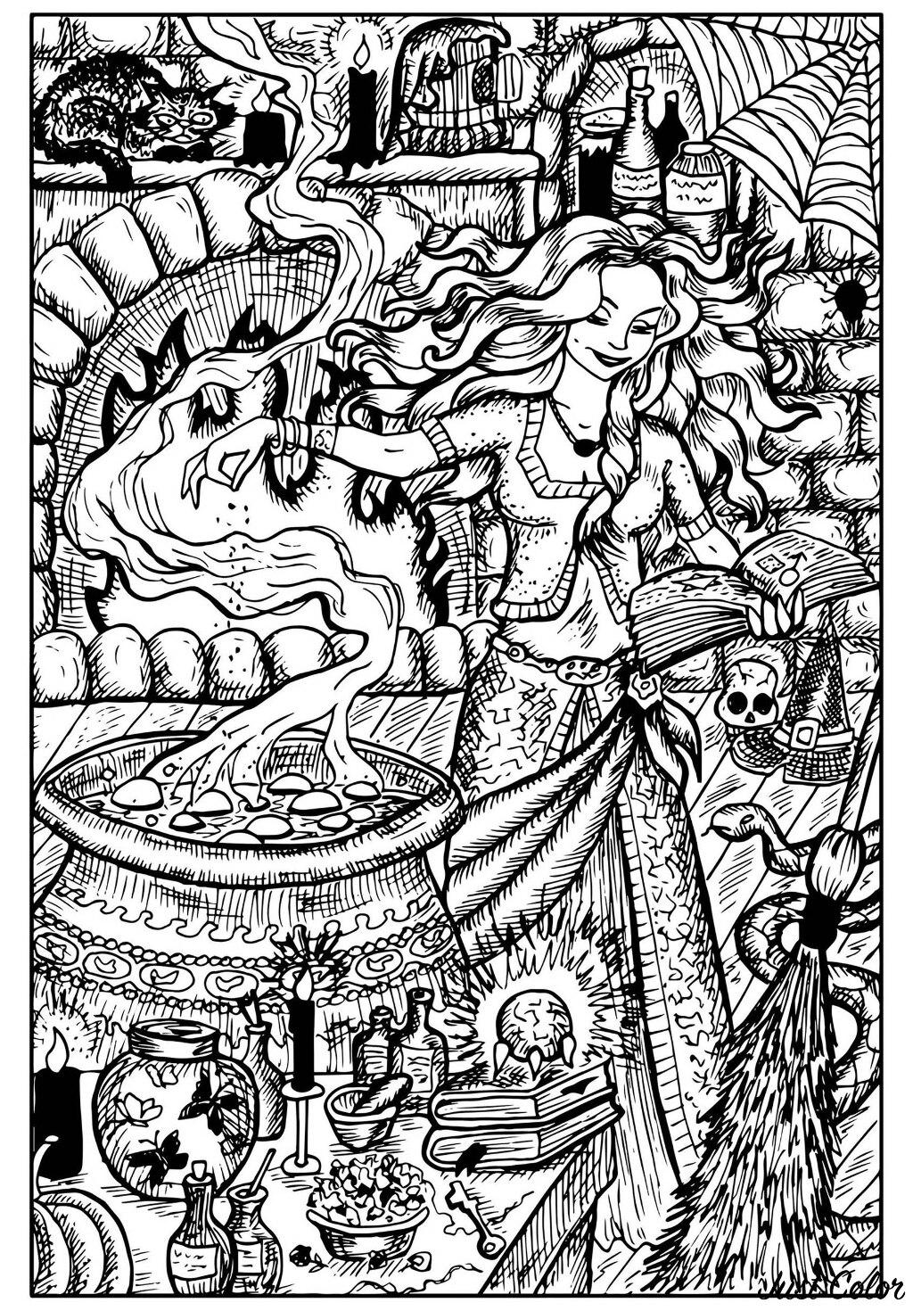 Cette sorcière est en train de préparer une potion maléfique dans son chaudron magique. Son atelier est bien rempli : chat noir, toiles d'araignées, insectes et poisons ....