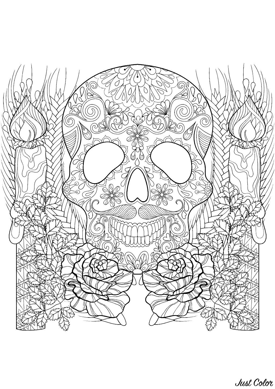 Un superbe coloriage d'Halloween composé d'un crâne décoré entouré de bougies et de fleurs
