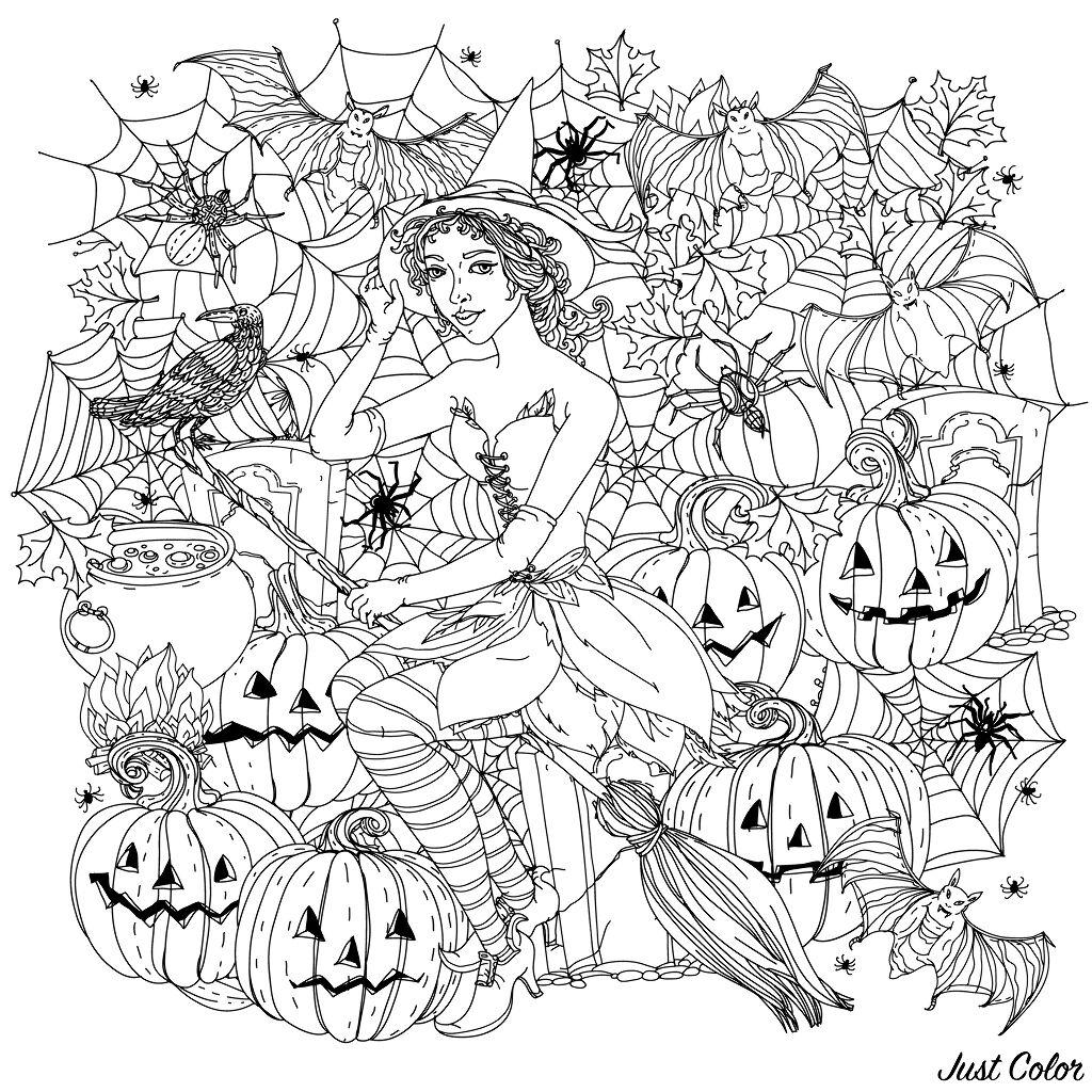 Halloween Sorciere Avec Citrouilles Halloween Coloriages