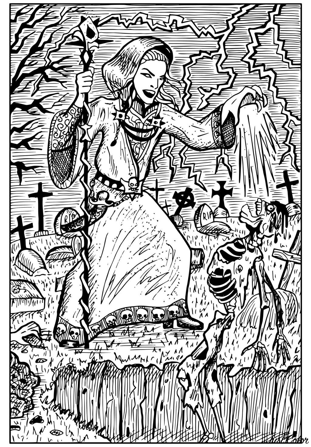Cette sorcière transforme les squelettes de ce cimetière en morts-vivants grâce à ses sorts maléfiques.