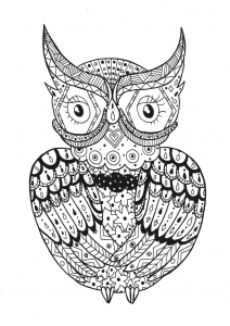Coloriage simple hibou rachel