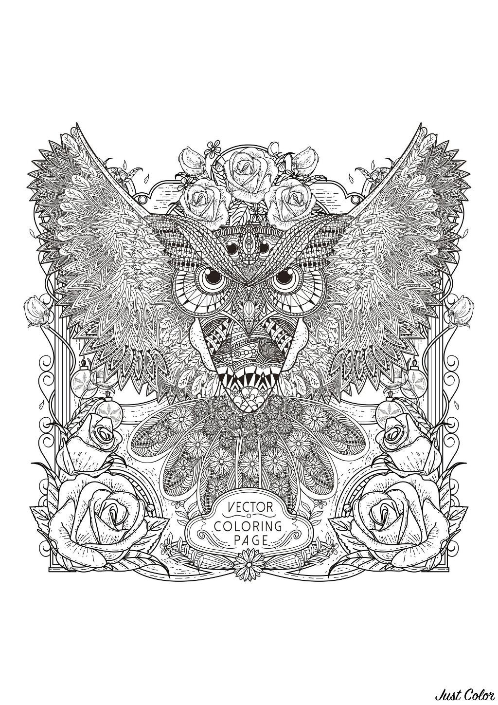 Hibou et motifs très complexes