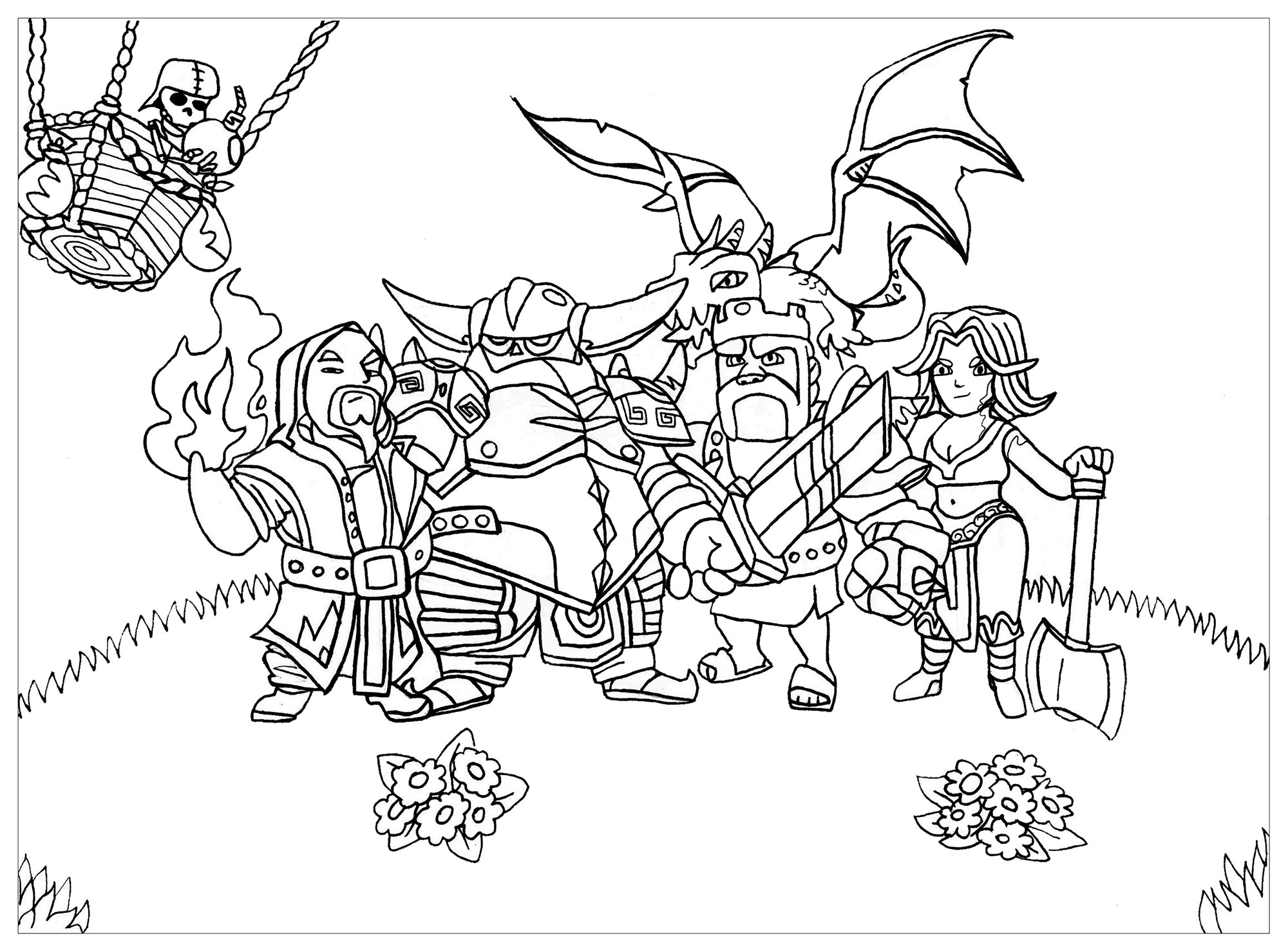 coloriage adulte clash of clan free to print