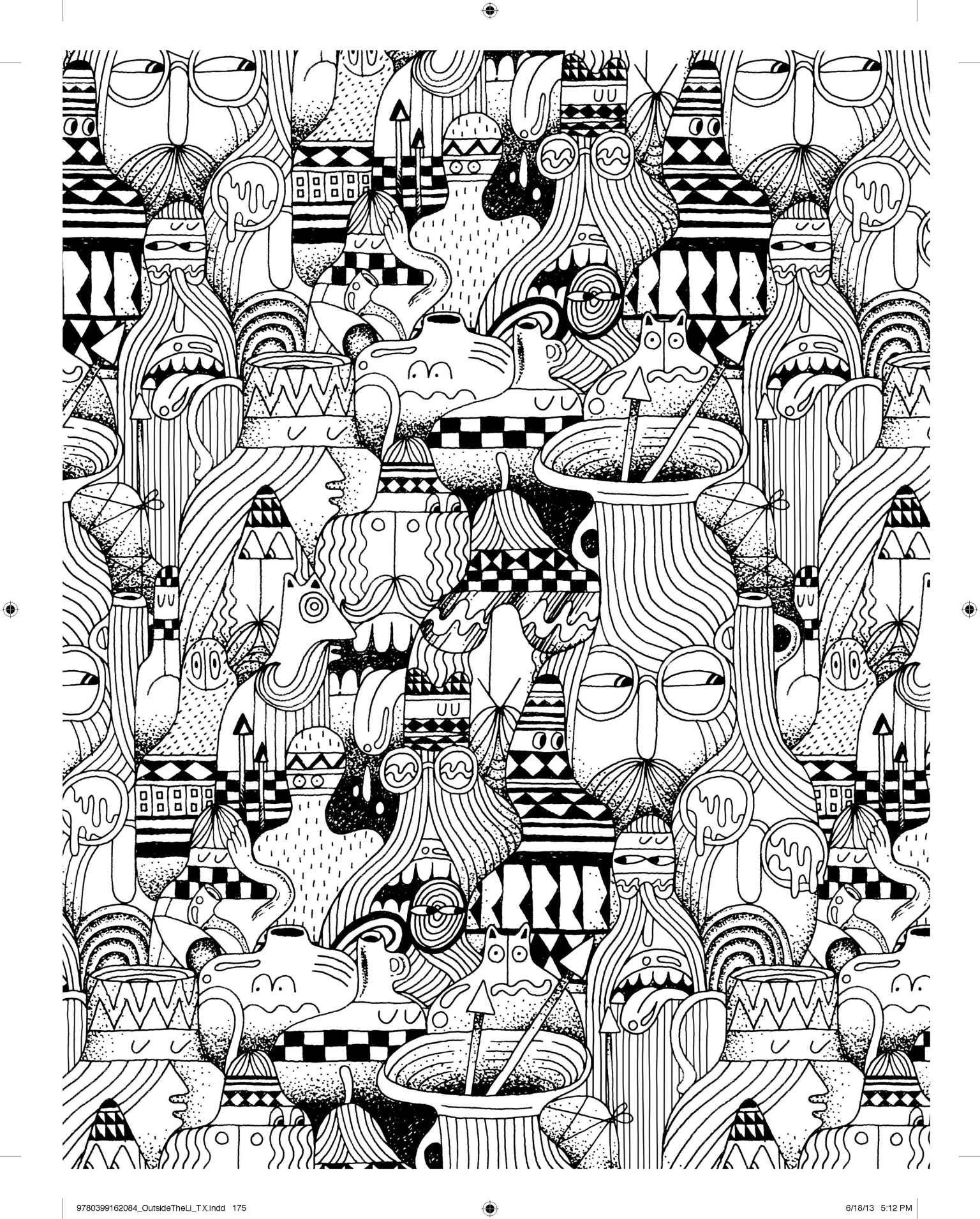 Dessin noir et blanc à motifs répétés, on semble y voir John Lennon