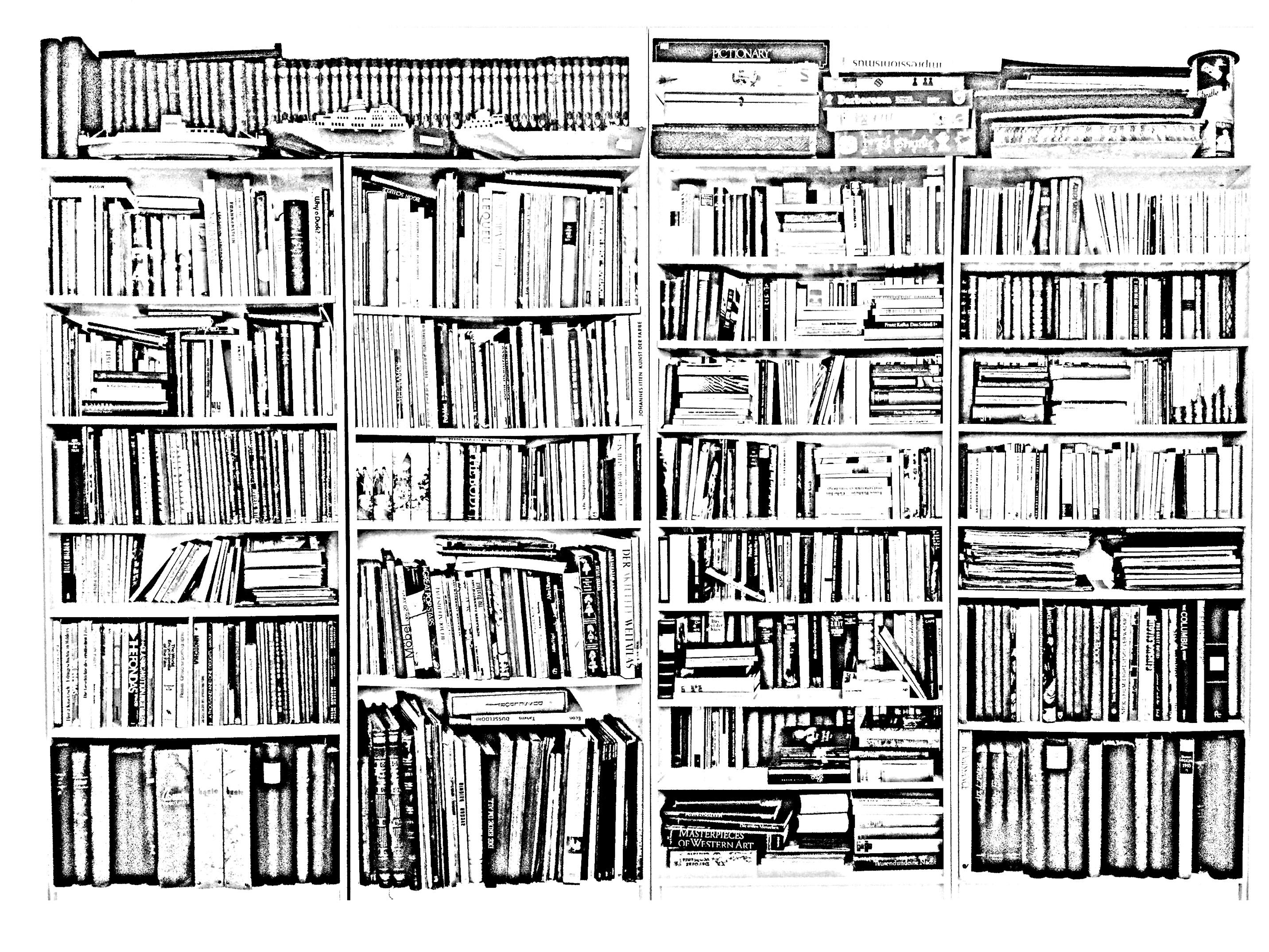 Coloriage d'une bibliothèque créé à partir d'une photo de Hans-Peter Feldmann : 'Bookshelves' (1941)