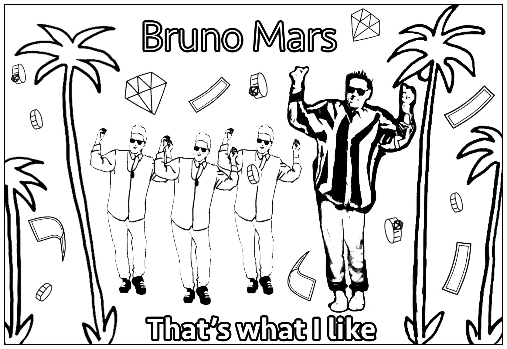 Coloriage inspiré du clip de Bruno Mars 'That's what I like'