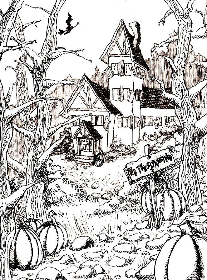 Sur le thème d'Halloween, voici un dessin très riche d'une maison hantée, au fond d'un jardin plein de citrouilles