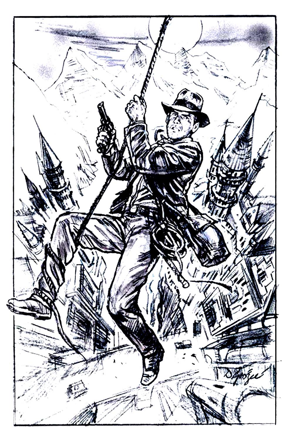 Une ébauche d'affiche pour Indiana Jones et la dernière Croisade, en noir & blanc