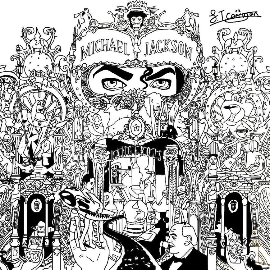 La magnifique pochette de Dangerous de Michael Jackson, et ses multiples personnages, détails et symboles étranges. A colorier en écoutant le Roi de la Pop bien sûr !