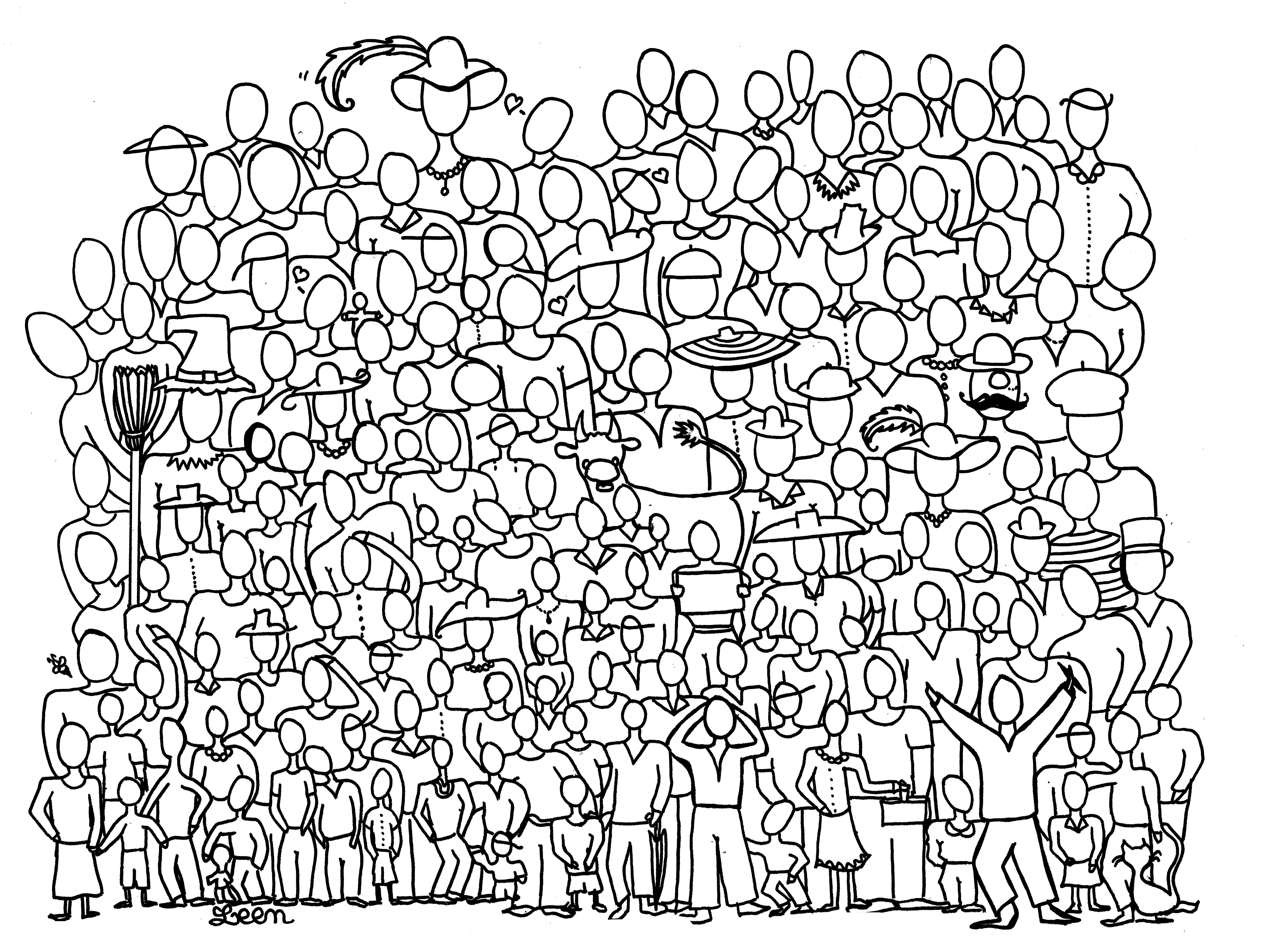 'Photo de famille', un coloriage rempli de personnages
