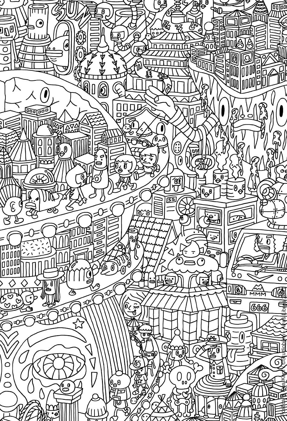Une drôle de ville peuplée d'étranges créatures ... Découvrez ce petit monde à l'aide de vos feutres