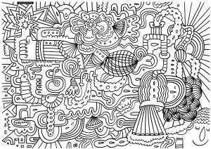 Coloriage adulte bizarre et indescriptible