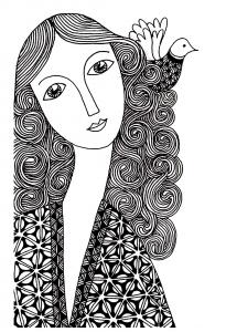 Coloriage femme simple