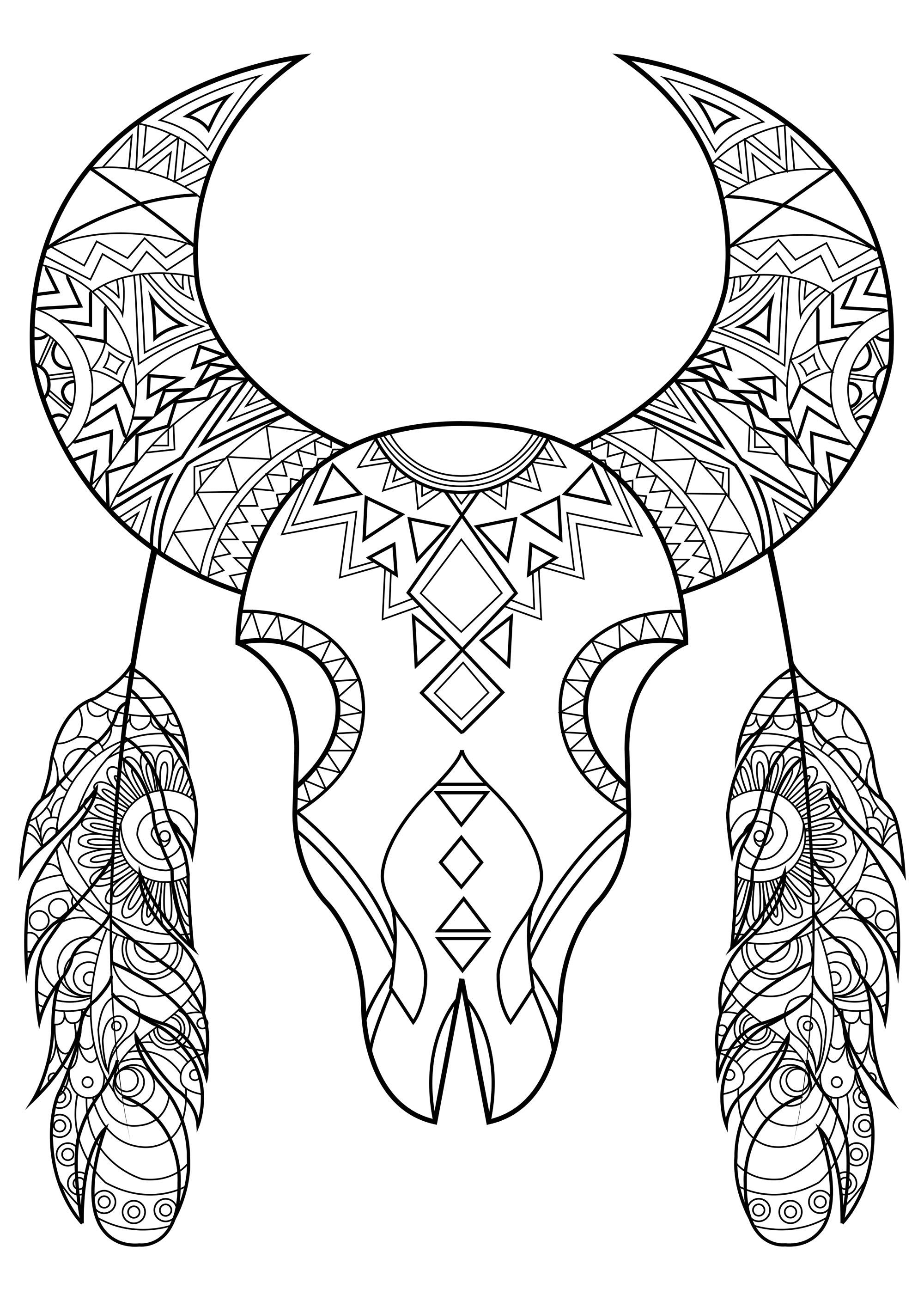De nombreuses tribus amérindiennes vénèrent les bisons, et si vous coloriez celui-ci ?