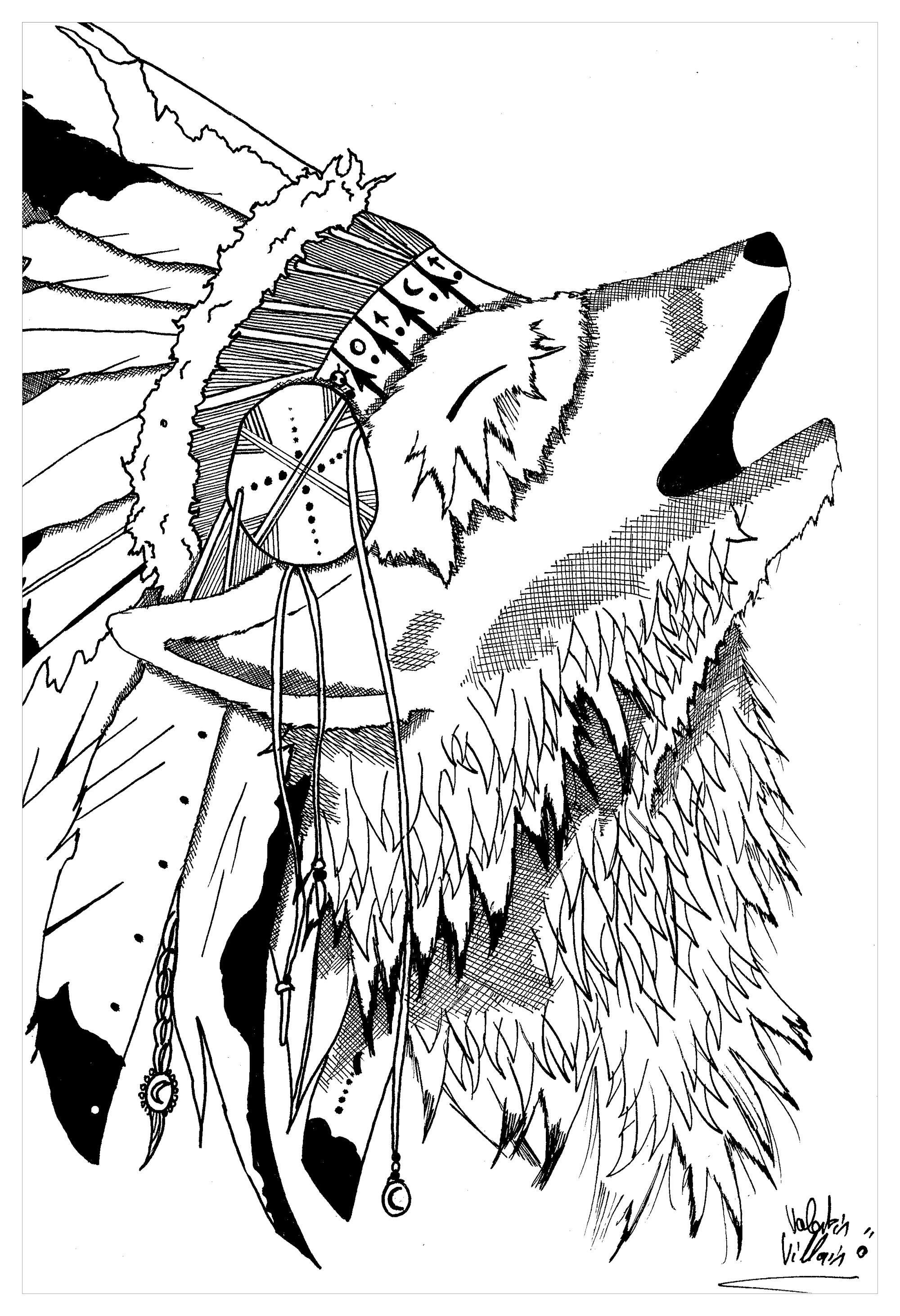 coloriage d'un loup portant une coiffe indienne