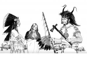 Coloriage adulte trois indiens