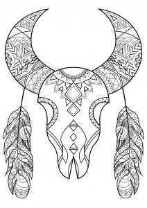 Crâne de bison stylisé