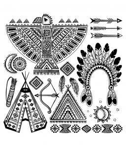 coloriage-indien-d-amerique-differents-symboles-typiques free to print